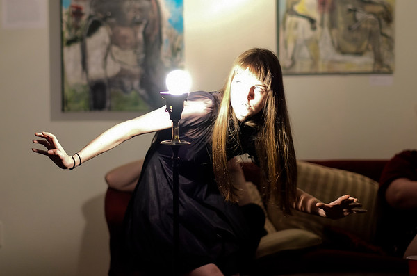 Tristen Weller performs the Butoh Dance at the open mic night and Queer Voices exhibit at Open Community Arts Center.