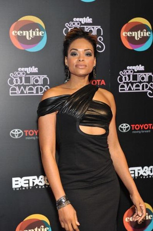 Demetria McKinney attends the 2010 Soul Train Awards at the Cobb Energy Center on November 10, 2010 in Atlanta, Georgia.<br /> <br /> Dress by: Maria Harper