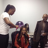 J Ready and Demetria McKinney celebrating the launch of 'Platinum Wigs' on October 5, 2013