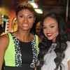 Angel McCoughtry and Demetria McKinney attends 'LA Hair' viewing party on August 15, 2013.