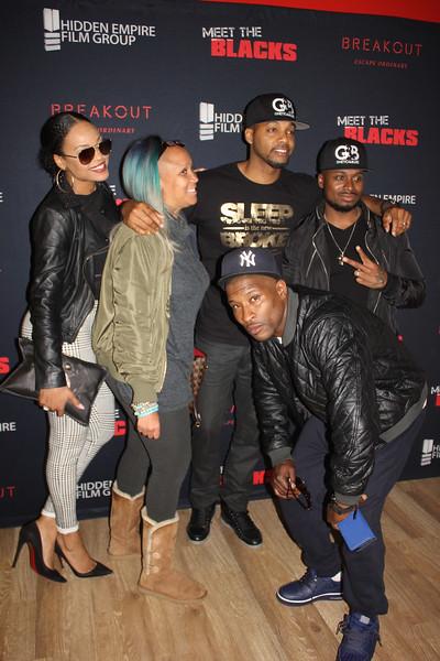 Demetria McKinney, Anje Collins, Marvin Moore, DJ Fadelf Jackson and Sincere Gubano attend 'Meet the Blacks' Premiere - Celebrity Breakout - April 1, 2016