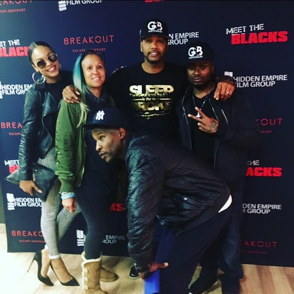 Demetria McKinney, Anje Collins, Marvin Moore, DJ Fadelf Jackson and Sincere Gubano attend 'Meet the Blacks' Premiere - Celebrity Breakout - April 1, 2016