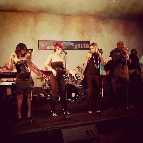 Trina Braxton, Kayte Burgess, Demetria McKinney and Mr. Jonz performing at Tyler Perry's 40th surprise birthday party!