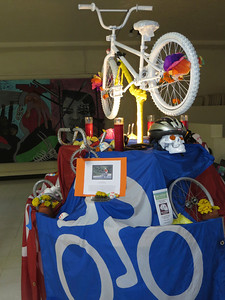 A bicycling altar honoring fallen cyclists Thank you to Eddie Gonzalez & Karen Blakeman for the artwork.