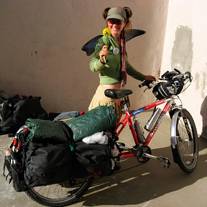 Happy rider on the Pleasant Revolution Tour  (North San Juan, CA to Chiapas, Mexico)  http://pleasantrevolution.net/