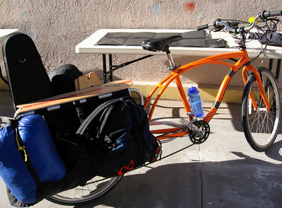 The members of the bands are riding Xtracycles (Sport Utility Cycles) and carrying impressive amount of gear.  Loaded bikes weigh as much as 160 lbs. http://www.xtracycle.com/
