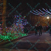 Visitors stroll down a lighted walkway at the St. Louis Zoo which is decorated with animal themed lights for the Christmas season.