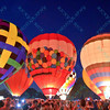 Hot air balloons light up the night sky in the popular event held at Forest Park in St. Louis, MO on 9/19/14