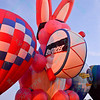 The Energizer Bunny Hot air balloon lights up the night sky in the popular event held at Forest Park in St. Louis, MO on 9/19/14