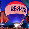 The ReMax Hot air balloon lights up the night sky in the popular event held at Forest Park in St. Louis, MO on 9/19/14
