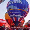The US Bank Hot air balloons light up the night sky in the popular event held at Forest Park in St. Louis, MO on 9/19/14