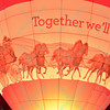 The Wells Fargo hot air balloon lights up their company logo during the popular event held at Forest Park in St. Louis, MO on 9/19/14