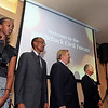 20090229 Civil Forum on Reconciliation with President Paul Kagame of the Republic of Rwanda and Yale Professor Miroslav Volf in the Saddleback Church Worship Center on September 25, 2009: (L-R) Ange Kagame, daughter, President Paul Kagame of Rwanda, Pastor Rick Warren, and Bob Bradberry