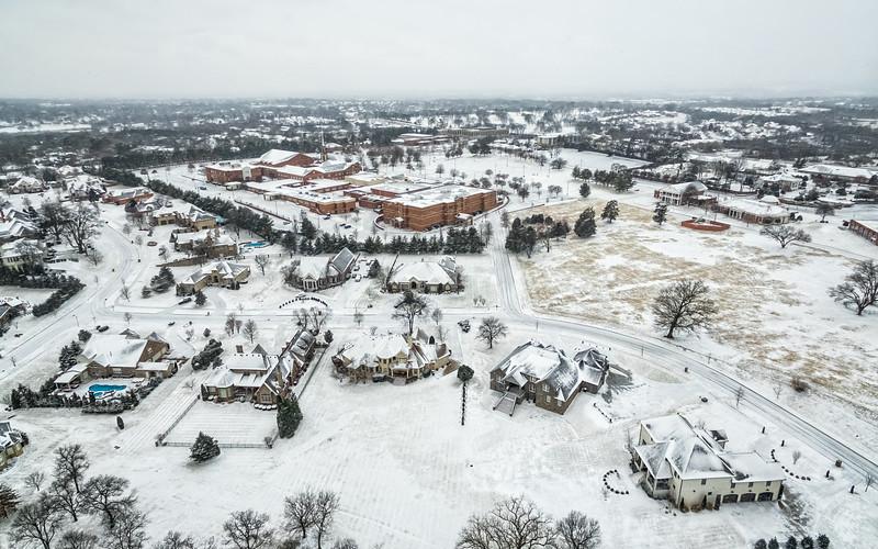 Snow in Hendersonville Aerial - January 13, 2018