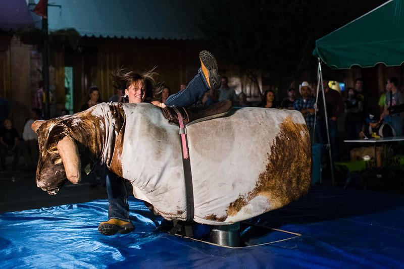 Mechanical bull riding; Main Street, Pendleton