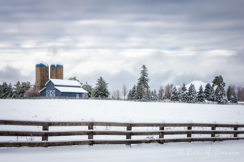 Blue Barn in Winter, Oro-Medonte, Ontario
