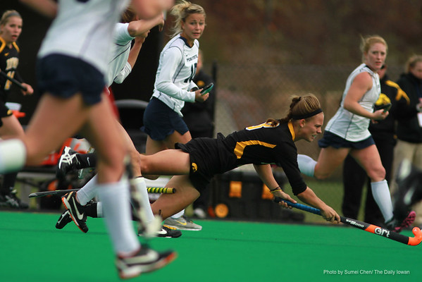 Iowa's Jessica Barnett falls during a game against Penn State of the Big 10 Tournament at Grant Field in Iowa City, Iowa on Friday November 2, 2012. Penn State defeated Iowa, 3-2. (The Daily Iowan/Sumei Chen)