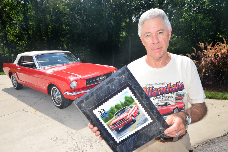 Dave Williams poses with his 1964 Mustang . one of the cars that will be at the Allandale Mansion car show Sunday. Photo by David Grace