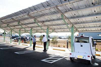 Solar electric car recharging stations.