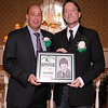03-28-2010...2010 Ramapo High School Athletic Hall of Fame inductee, Roger Vergenes, class of 1981 (right-Soccer) presented by fellow inductee and boys soccer coach Evan Baumgarten .<br /> PHOTO: KELLY BIRDSEYE