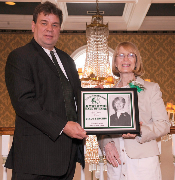 03-28-2010...2010 Ramapo High School Athletic Hall of Fame inductee, Pat Clapp, (right-Girls Fencing Coach) presented by Athletic Director Todd Meyer.<br /> PHOTO: KELLY BIRDSEYE
