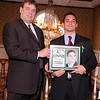 03-28-2010...2010 Ramapo High School Athletic Hall of Fame inductee, Andrew Recchione, class of 2003 (right-Football, Lacrosse) presented by Athletic Director Todd Meyer.<br /> PHOTO: KELLY BIRDSEYE