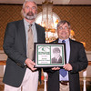 03-28-2010...2010 Ramapo High School Athletic Hall of Fame inductee, Scott Patchett, class of 1971 (right-Soccer Physical Fitness) presented by Hall of Fame Executive Committe member, Paul Heenahan.<br /> PHOTO: KELLY BIRDSEYE