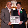 03-28-2010...2010 Ramapo High School Athletic Hall of Fame inductee, Rob Milanese, class of 1998  (right-Football, Track) presented by Hall of Fame Committee Member Mike Miello.<br /> PHOTO: KELLY BIRDSEYE