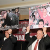 05/12/2010...Former Bergen Catholic High School Football Coach, competative rival Fred Stengle (left) and Don Bosco Prep Head Football Coach Greg Toal show a poster gift from each other at a Roast and Toast dinner for Coach Toal in acknowledging his leadership and leading Don Bosco Prep to the recognition of the 2009 National High School Football Champion.