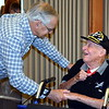 Debby High — For Montgomery Media<br /> Former state Rep. Paul Clymer shakes hands with Harry Overbaugh Jr., who served 30 years after being drafted in 1941.