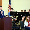 Debby High — For Montgomery Media<br /> Pennridge Central Middle School Principal Christian Temchatin speaks during the Salute to the Armed Forces program.