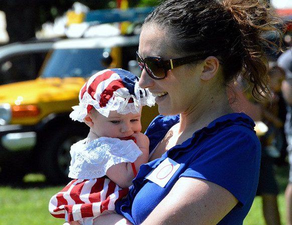 Hadley Link, of Lansdale, won 3rd for Most Patriotic/Best Dressed in Pennridge Community Day annual baby parade July 6, 2014. Photo by Debby High