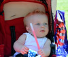 Cannon Mercier, strolled through with his twin brother in Pennridge Community Day annual baby parade July 6, 2014. Photo by Debby High