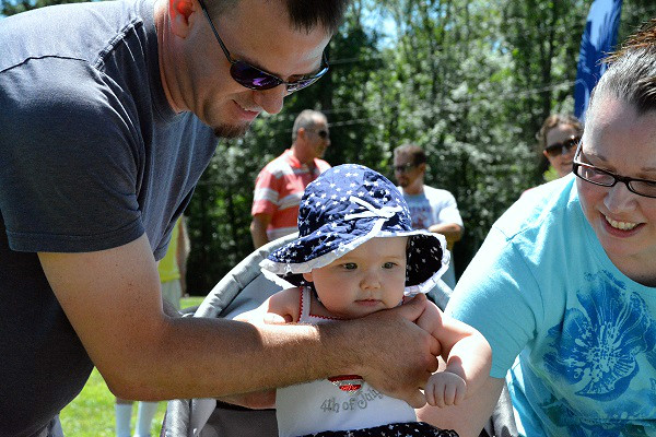 Skyla Nace, of Perkasie, won 2nd in cutiest legs in Pennridge Community Day annual baby parade July 6, 2014. Photo by Debby High