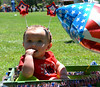 A twin, Ava Kligerman, won 2nd for Least Hair  in Pennridge Community Day annual baby parade July 6, 2014. Photo by Debby High