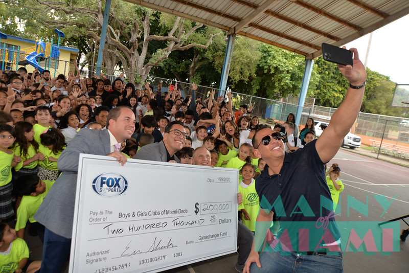 MIAMI, FL - JANUARY 29: Erik Sanks, Alex Rodriguez, Adrian Garcia Maqui, Alex Rodriguez-Roig at the Fox Sports $200,0000 donation for the Boys and Girls Club of Miami on January 29th, 2020 in Miami, FL (Manny Hernandez)