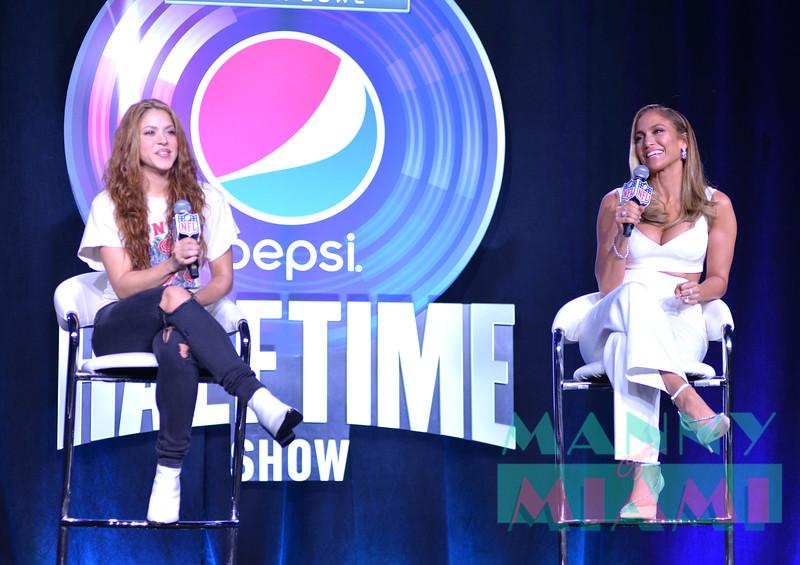 MIAMI, FL - JANUARY 30:  Jennifer Lopez and Shakira at Super Bowl LIV Pepsi Halftime Press Conference in Miami, FL on January 30, 2020 (Photo by Manny Hernandez)