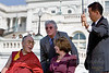 The Dalai Lama, Tibet's exiled spiritual leader, confers with U.S. Speaker of the House Nancy Pelosi and actor Richard Gere  before speaking to the public after receiving the U.S. Congressional Gold Medal on Capitol Hill in Washington D.C.
