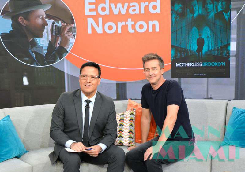 MIAMI, FL - OCTOBER 9:  Raul Gonzalez, Edward Norton visits Despierta America at Univision network. (Photo by Manny Hernandez)