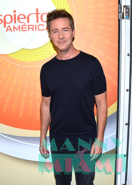 MIAMI, FL - OCTOBER 9:  Edward Norton visits Despierta America at Univision network. (Photo by Manny Hernandez)