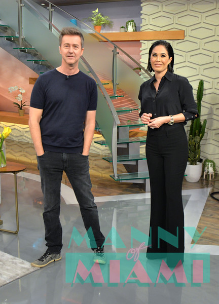 MIAMI, FL - OCTOBER 9:  Edward Norton, Karla Martinez visits Despierta America at Univision network. (Photo by Manny Hernandez)