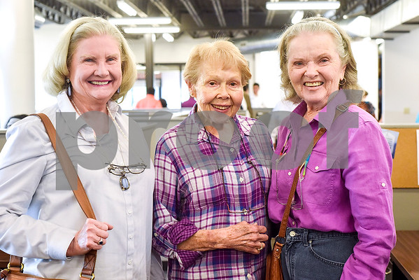 Carolyn Kuykendall, Jo Wade and Ruth Stankewitz at the Tyler Morning Telegraph employee speak during an open house event at the Tyler Morning Telegraph in Tyler, Texas, on Thursday, Oct. 12, 2017. (Chelsea Purgahn/Tyler Morning Telegraph)