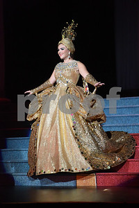 Margaret Molleston takes the stage in her costume, Gold Museum, during dress rehearsal for the Texas Rose Festival Queen's Coronation Thursday Oct. 14, 2016 held at the Cowan Center at the University of Texas at Tyler. The theme was Museum of the Majestic.   (Sarah A. Miller/Tyler Morning Telegraph)