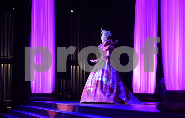Duchess of the Texas Rose Festival Mary Birdsong practices her walk during dress rehearsal for the Texas Rose Festival Queen's Coronation Thursday Oct. 14, 2016 held at the Cowan Center at the University of Texas at Tyler. The theme was Museum of the Majestic.   (Sarah A. Miller/Tyler Morning Telegraph)