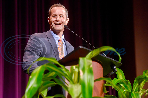 Actor Kirk Cameron speaks during Christian Homes and Family Services' fall dinner at Green Acres Baptist Church in Tyler, Texas, on Tuesday, Oct. 16, 2018. (Chelsea Purgahn/Tyler Morning Telegraph)