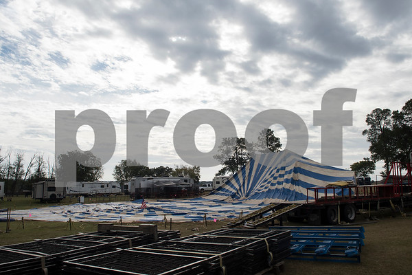 The Big Top tent is raised for the traveling Culpepper & Merriweather Circus at Winchester Park in Chandler, Texas Friday Oct. 20, 2017.   (Sarah A. Miller/Tyler Morning Telegraph)