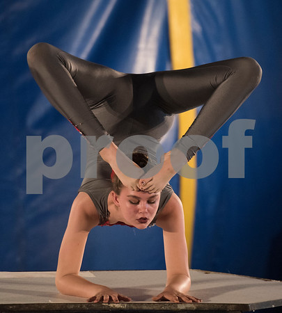 Georgia Cainan does a contortion routine during the traveling Culpepper & Merriweather Circus at Winchester Park in Chandler, Texas Friday Oct. 20, 2017.   (Sarah A. Miller/Tyler Morning Telegraph)