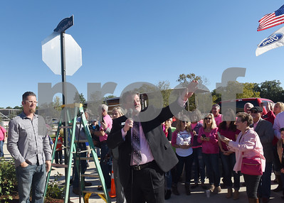 """City of Lindale Mayor Jeff Daugherty speaks outside of Miranda Lambert's The Pink Pistol store during Pinktoberfest, hosted by The Cannery Lindale, The Pink Pistol, Love and War in Texas and the City of Lindale Oct. 22, 2016 in Lindale. The event, dubbed, a """"Texas Size Block Party"""" featured games, live music, a chili cook-off and MuttNation Foundation pet adoption. Pinktoberfest also served as the official grand opening of Love and War in Texas and The Pink Pistol.   (Sarah A. Miller/Tyler Morning Telegraph)"""