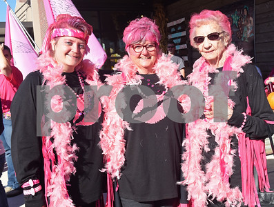"""Sara McCollum, Carolyn McCollum and Marietta Woolf traveled from Firestone, Colorado to attend Pinktoberfest, hosted by The Cannery Lindale, The Pink Pistol, Love and War in Texas and the City of Lindale Oct. 22, 2016 in Lindale. The event, dubbed, a """"Texas Size Block Party"""" featured games, live music, a chili cook-off and MuttNation Foundation pet adoption. Pinktoberfest also served as the official grand opening of Love and War in Texas and The Pink Pistol.   (Sarah A. Miller/Tyler Morning Telegraph)"""