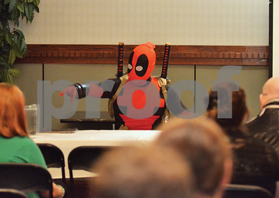 Internet-famous cosplayer D. Piddy holds a Q&A session in a Deadpool costume. (Victor Texcucano)